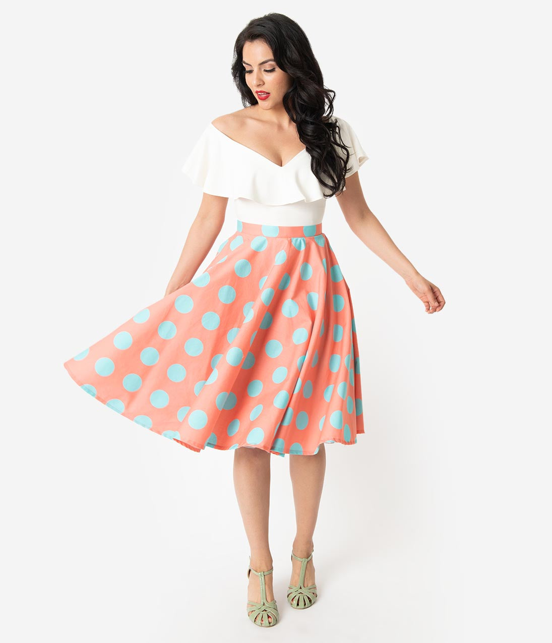 50s Skirt Styles | Poodle Skirts, Circle Skirts, Pencil Skirts 1950S Style Coral Pink  Turquoise Polka Dot Cotton Swing Skirt $58.00 AT vintagedancer.com