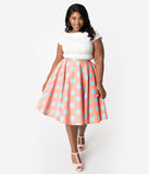 Plus Size 1950s Style Coral Pink & Turquoise Polka Dot Cotton Swing Skirt