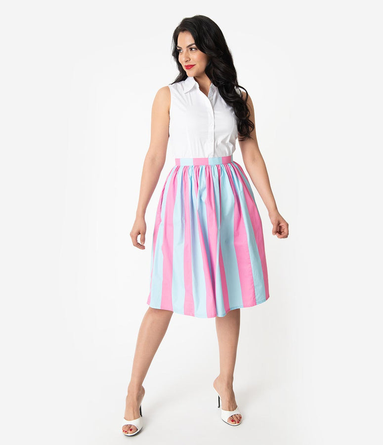1950s Style Pink & Blue Striped Cotton Pleated Swing Skirt