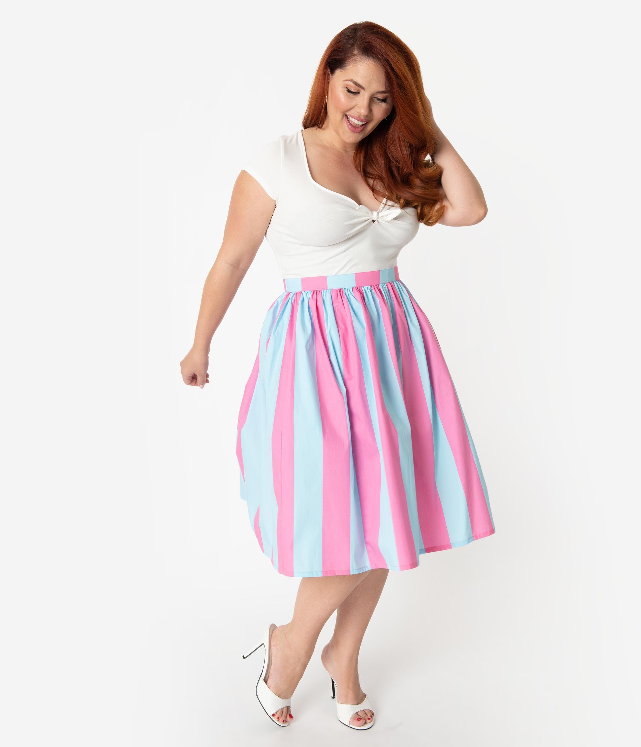 8f554677508 Plus Size 1950s Style Mint Tropical   Pink Flamingos Cotton Gathered ...