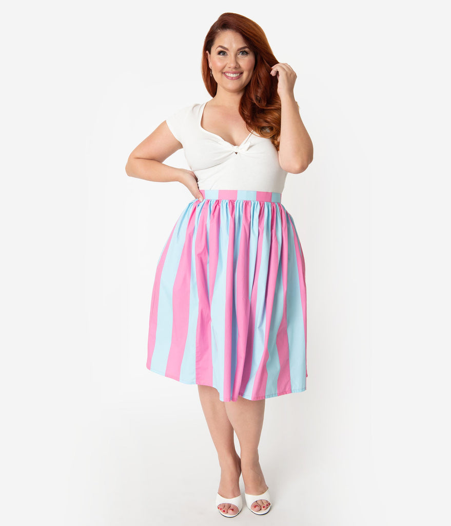 Plus Size 1950s Style Pink & Blue Striped Cotton Pleated Swing Skirt