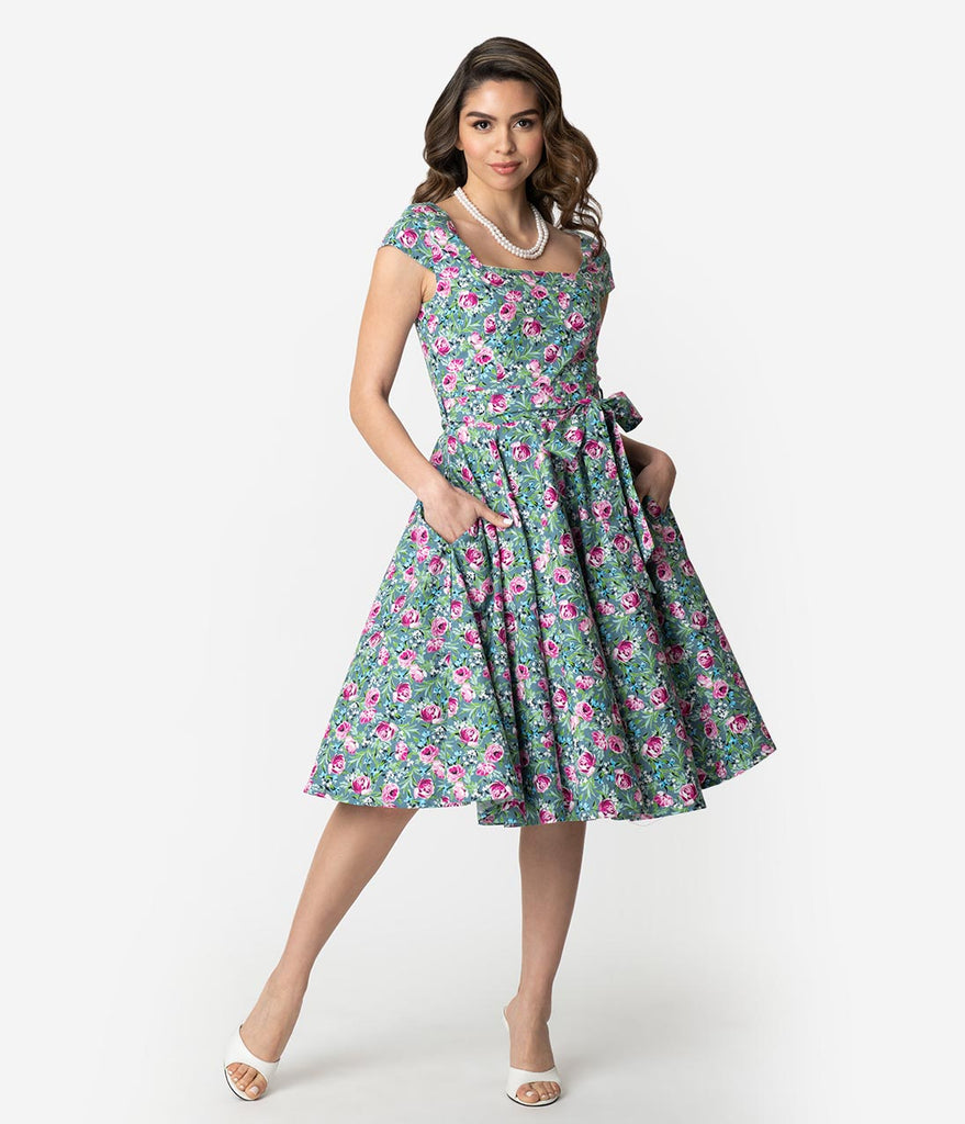f87ad94360 ... Retro Style Green   Pink Lovely Floral Print Cap Sleeve Anna Swing Dress  ...