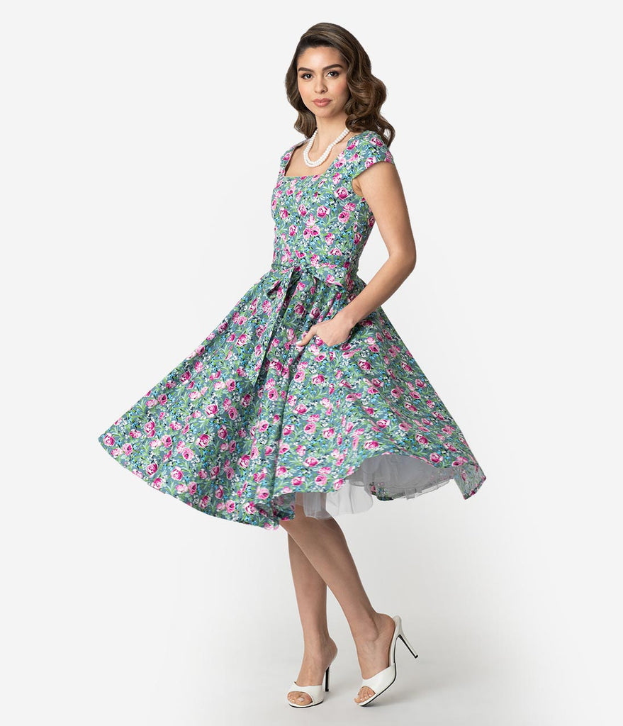 Retro Style Green & Pink Lovely Floral Print Cap Sleeve Anna Swing Dress