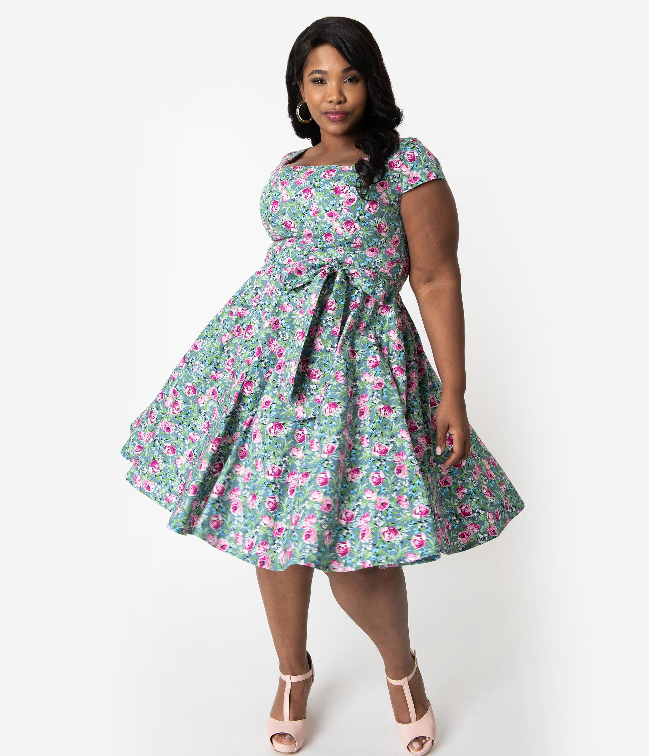 1960s Mad Men Dresses and Clothing Styles Plus Size Retro Style Green  Pink Lovely Floral Print Cap Sleeve Anna Swing Dress $51.00 AT vintagedancer.com