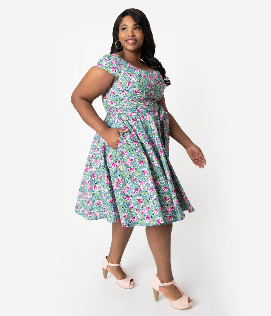 570c1d37af ... Plus Size Retro Style Green   Pink Lovely Floral Print Cap Sleeve Anna  Swing Dress ...