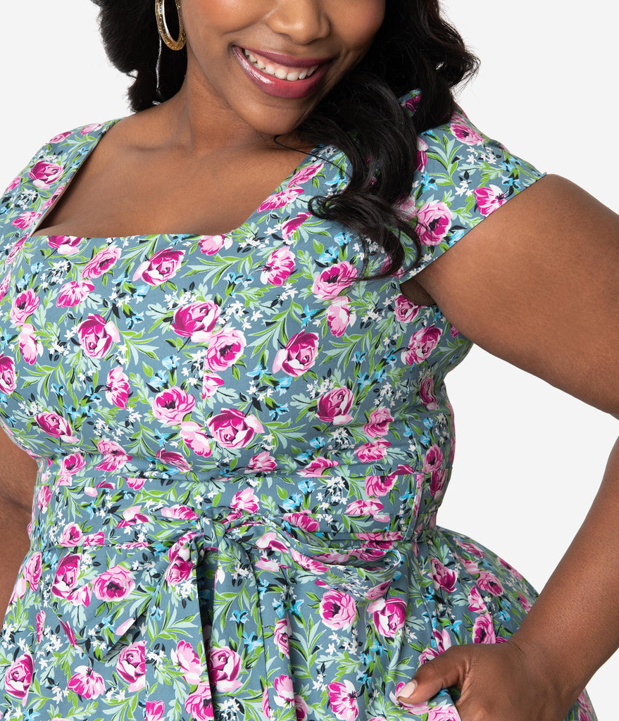 e17ed3aeaf ... Plus Size Retro Style Green   Pink Lovely Floral Print Cap Sleeve Anna  Swing Dress