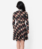 Unique Vintage Dark Plaid Knit Wednesday Flare Dress