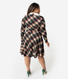 Unique Vintage Plus Size Dark Plaid Knit Wednesday Flare Dress