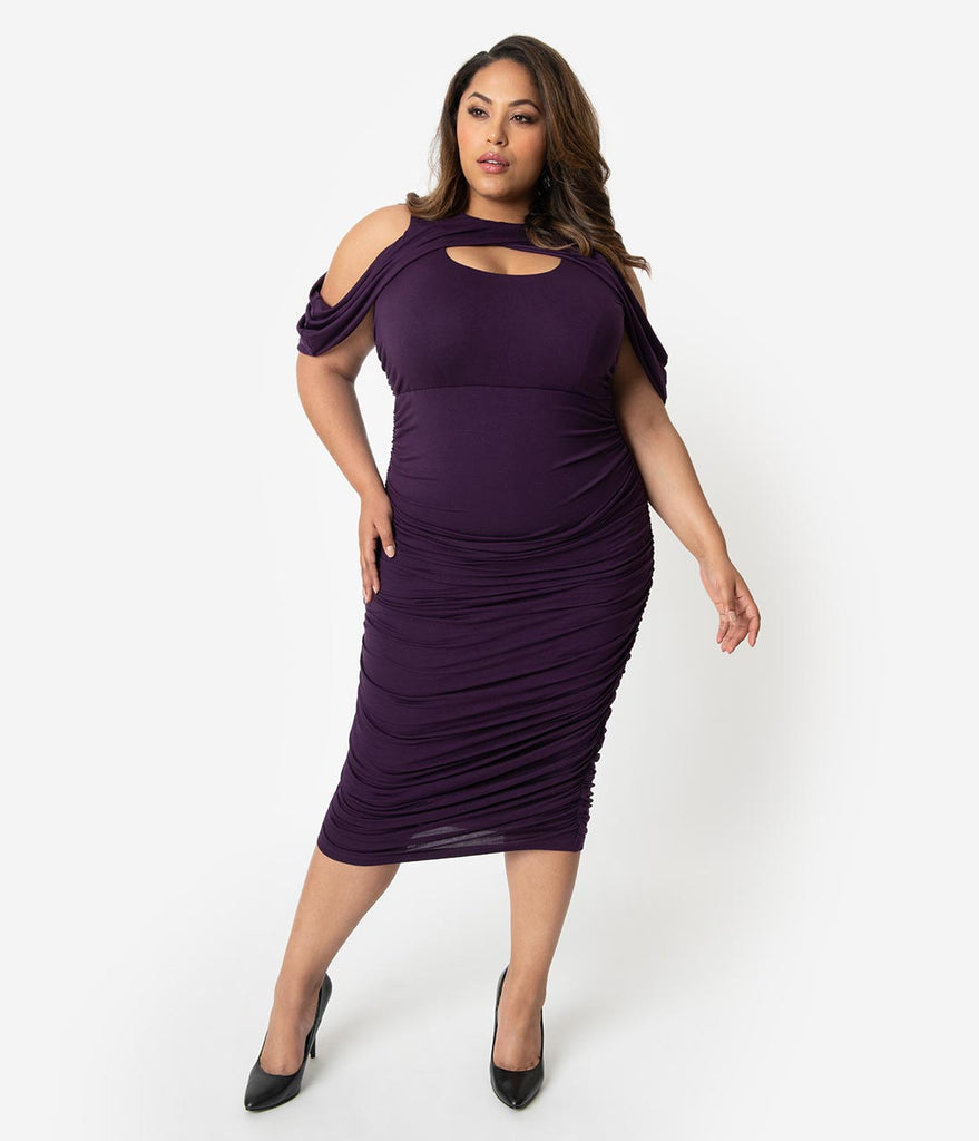 Plus Size Plum Purple Keyhole Cutout Ruched Wiggle Dress – Unique ...
