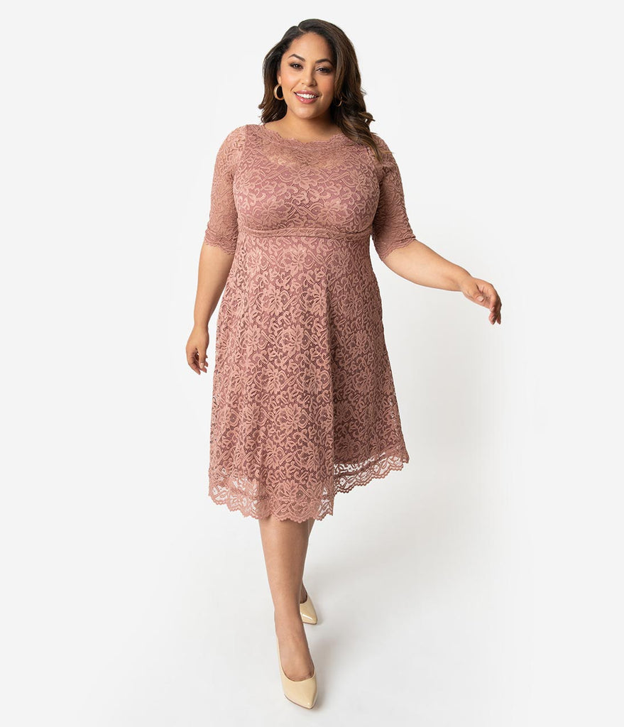 Plus Size Mauve Lace Over Lay Sleeved Lacey Cocktail Dress