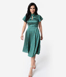 Unique Vintage 1950s Emerald & Yellow Polka Dot Baltimore Swing Dress