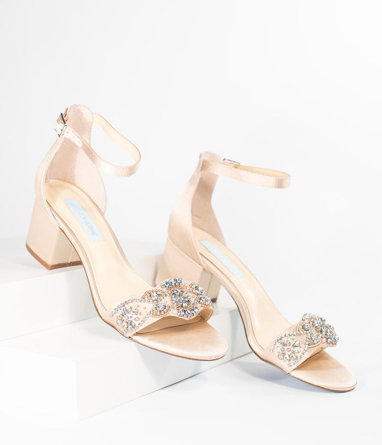 Betsey Johnson Champagne & Silver Crystal Mel Sandal Heels