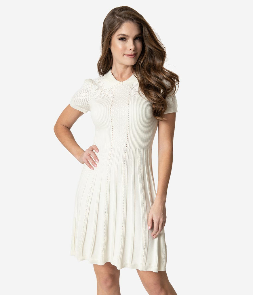 Retro Style Ivory Knit Stitch Fit & Flare Sweater Dress