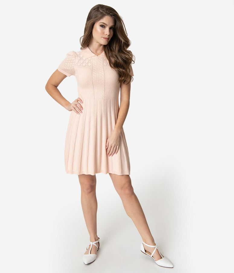 2abc6569ccc Retro Style Blush Pink Knit Stitch Fit   Flare Sweater Dress