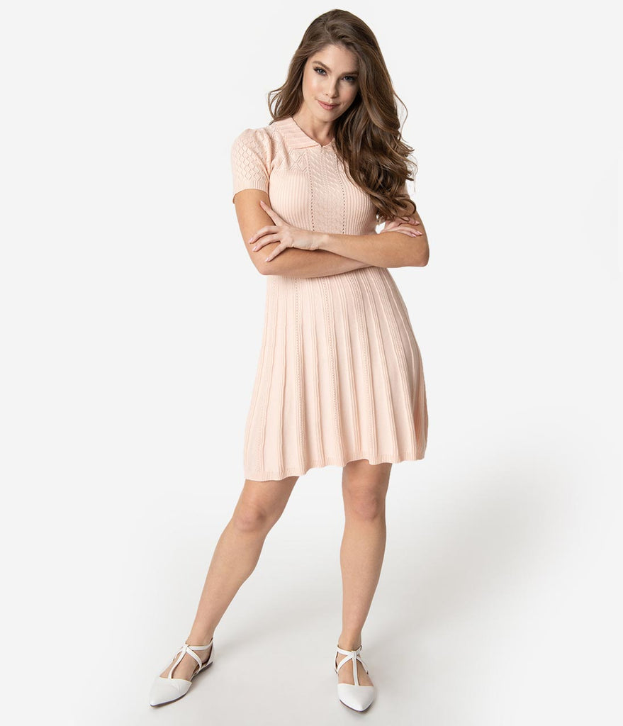 Retro Style Blush Pink Knit Stitch Fit & Flare Sweater Dress