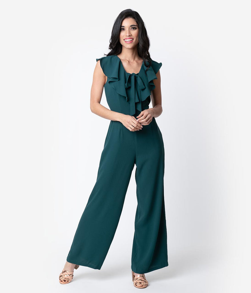 f21ba850da9 Deep Green Crepe Ruffle Wide Leg Jumpsuit – Unique Vintage