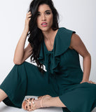 Deep Green Crepe Ruffle Wide Leg Jumpsuit