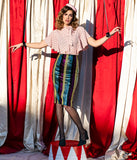 Multicolor Sequin & Stripe High Waisted Pencil Skirt