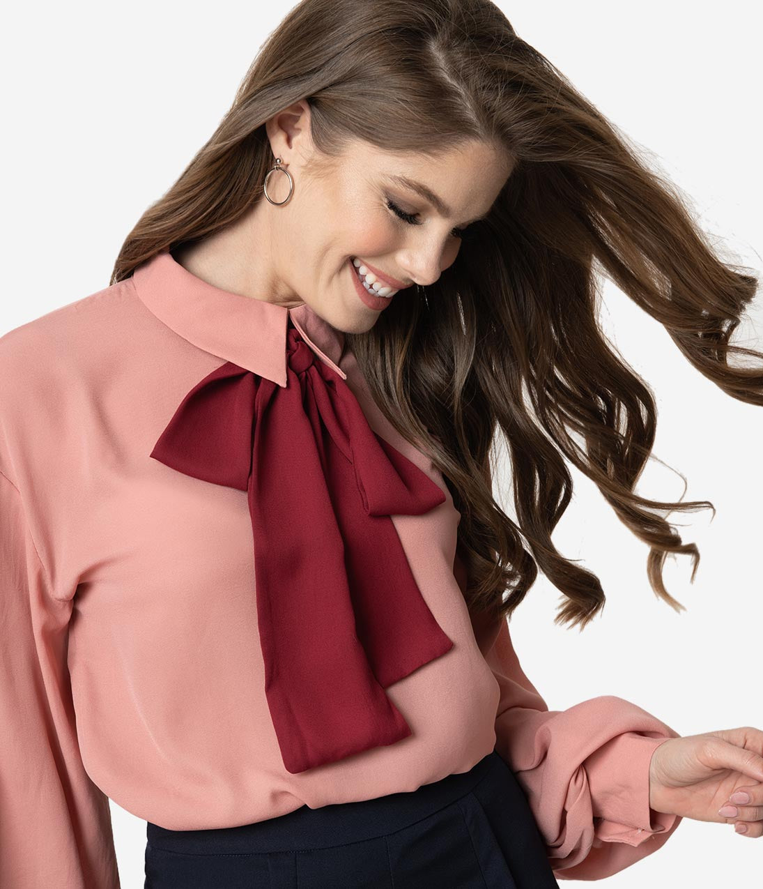 Women's 70s Shirts, Blouses, Hippie Tops Vintage Style Dusty Rose  Burgundy Neck Tie Long Sleeve Blouse $42.00 AT vintagedancer.com