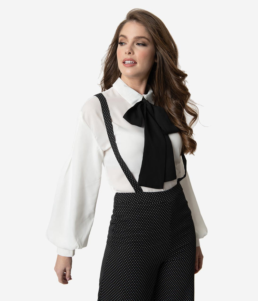 Vintage Style White & Black Neck Tie Long Sleeve Blouse