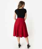 Unique Vintage Retro Style Red & Black Polka Dot High Waist Vivien Swing Skirt