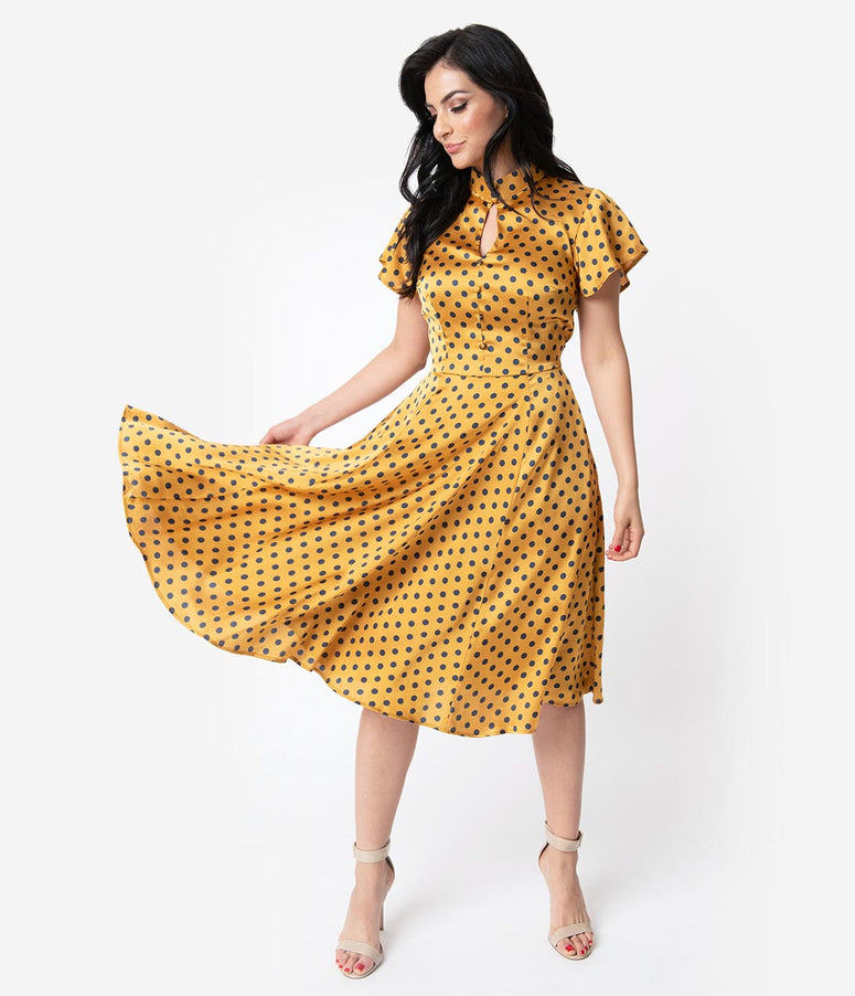 Unique Vintage 1950s Mustard & Navy Polka Dot Baltimore Swing Dress