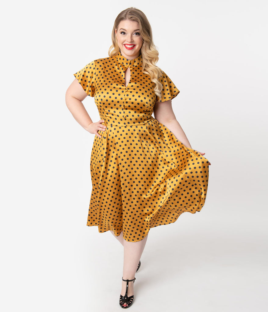 Unique Vintage Plus Size 1950s Mustard & Navy Polka Dot Baltimore Swing Dress