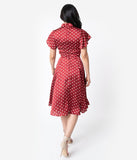 Unique Vintage 1950s Red & Ivory Polka Dot Baltimore Swing Dress