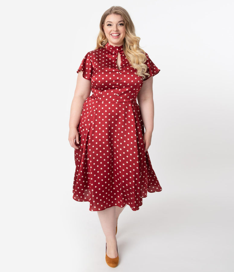 Unique Vintage Plus Size 1950s Red & Ivory Polka Dot Baltimore Swing Dress
