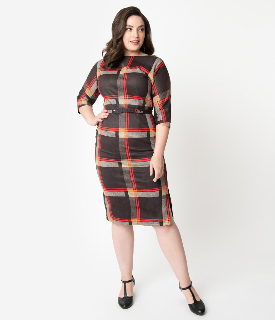 Unique Vintage Plus Size 1940s Style Black & Red Plaid Adelia Wiggle Dress