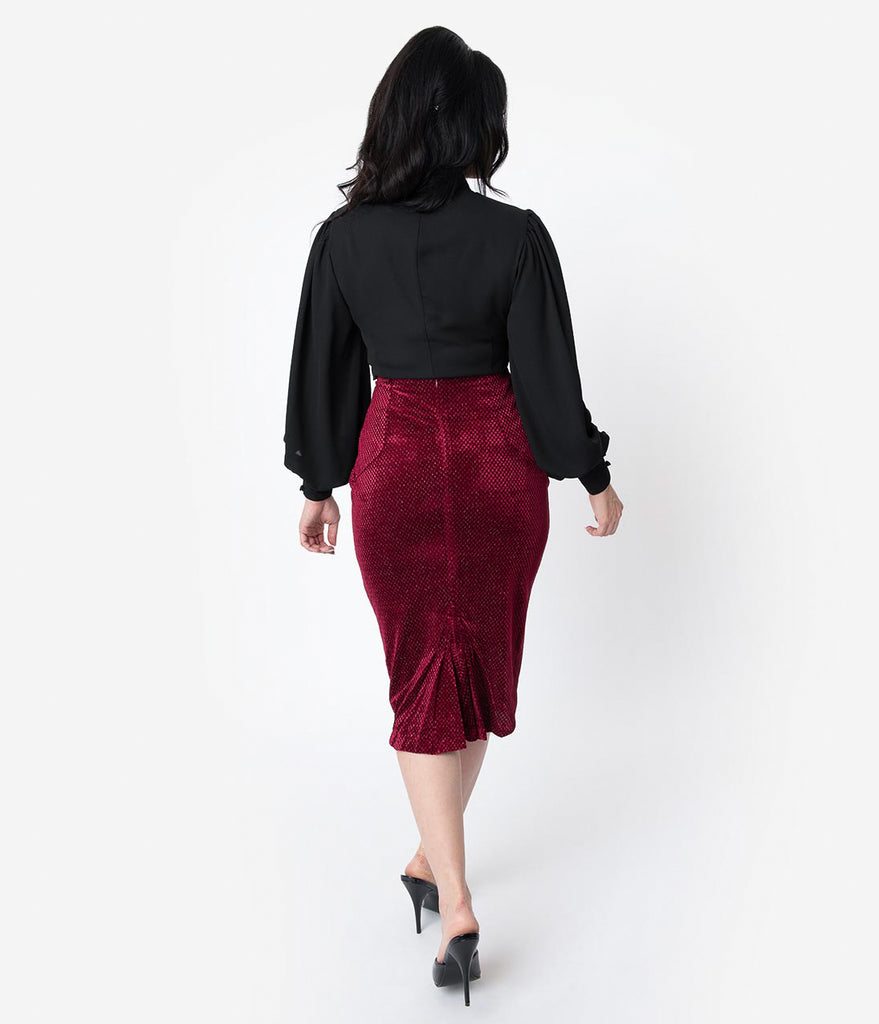 Unique Vintage Burgundy Embossed Velvet High Waist Tracy Wiggle Skirt