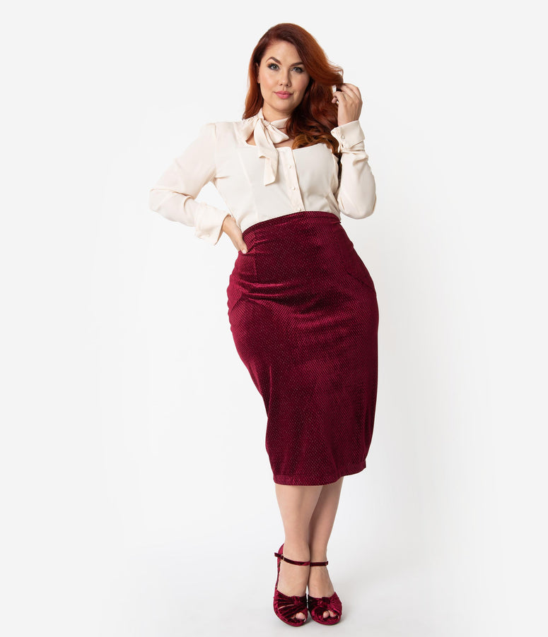 Unique Vintage Plus Size Burgundy Embossed Velvet High Waist Tracy Wiggle Skirt