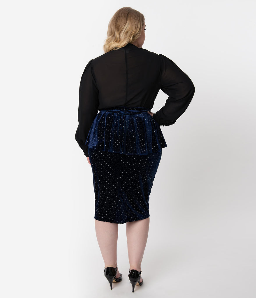 Unique Vintage Plus Size 1940s Navy Velvet Pearl Dotted Peplum Boulevard Pencil Skirt