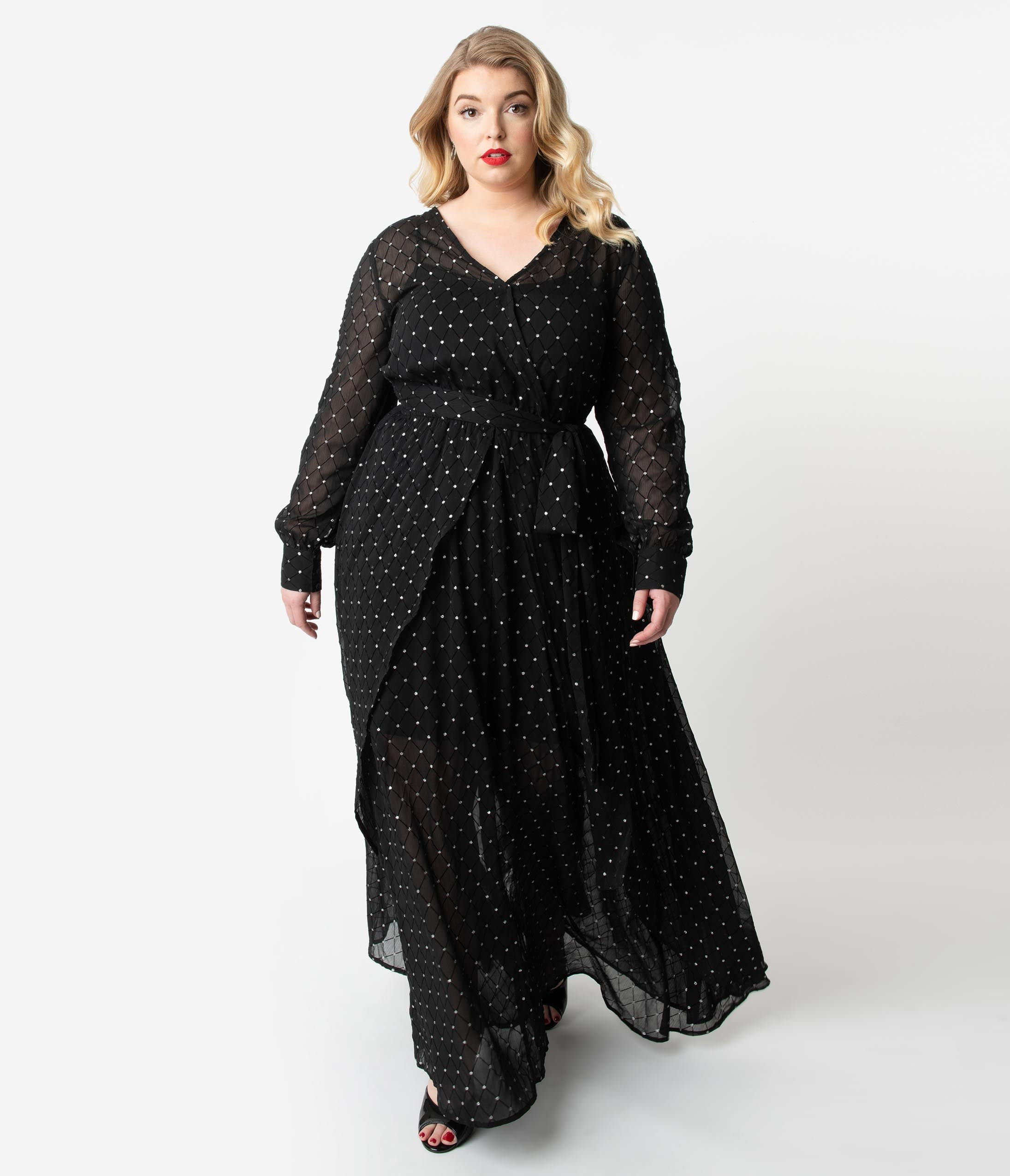 1920s Plus Size Flapper Dresses, Gatsby Dresses, Flapper Costumes Unique Vintage Plus Size Black  Silver Long Sleeve Farrah Maxi Dress $118.00 AT vintagedancer.com