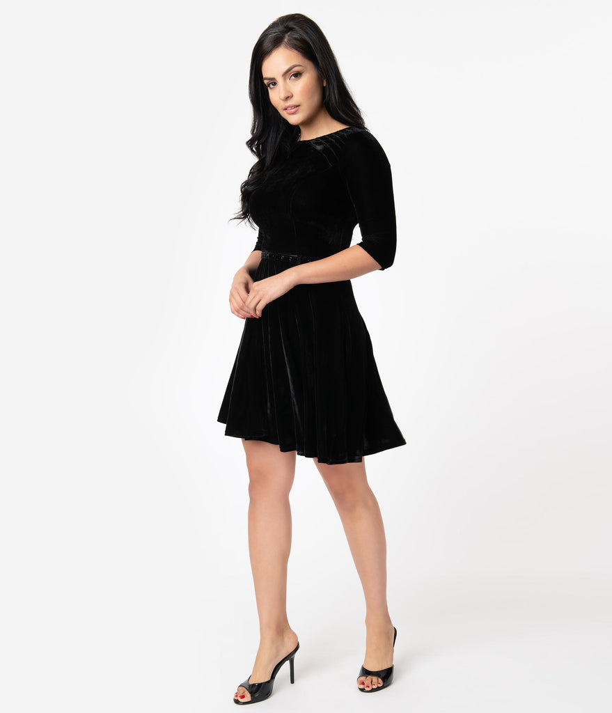 Unique Vintage Black Velvet Stephanie Fit & Flare Dress