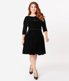 Unique Vintage Plus Size Black Velvet Stephanie Fit & Flare Dress