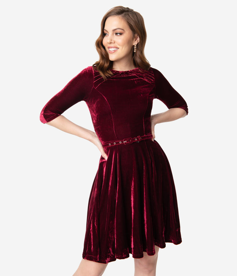Unique Vintage Merlot Red Velvet Half Sleeve Fit & Flare Dress