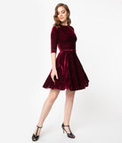 Unique Vintage Merlot Red Velvet Fit & Flare Dress