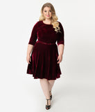 Unique Vintage Plus Size Merlot Red Velvet Fit & Flare Dress