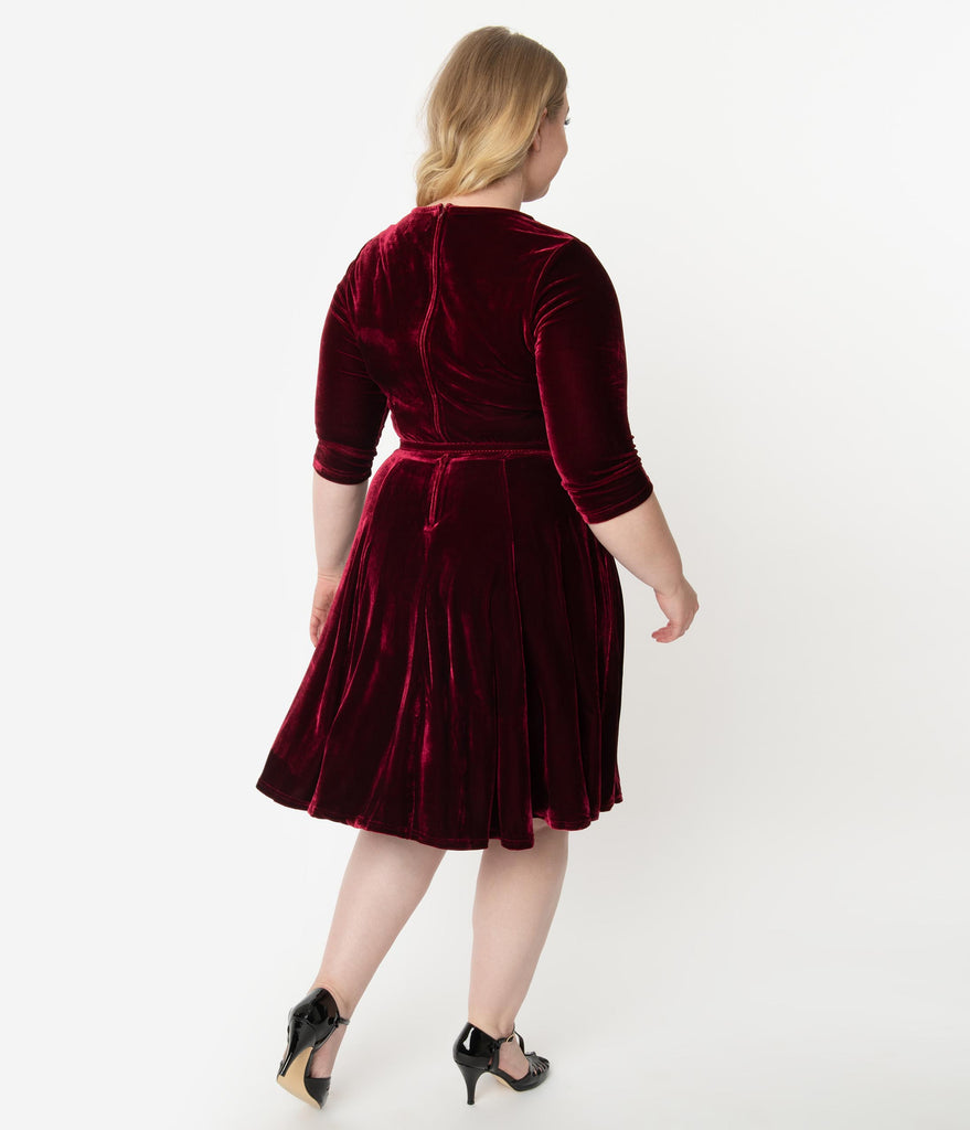 Unique Vintage Plus Size Merlot Red Velvet Half Sleeve Fit & Flare Dress