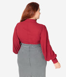 Unique Vintage Plus Size Burgundy Crepe Neck Tie Gwen Blouse