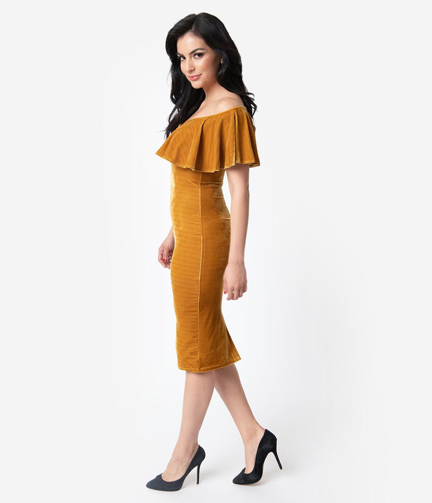 Unique Vintage Mustard Velvet Draped Off Shoulder Sophia Wiggle Dress