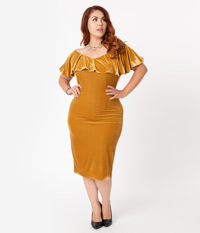 Unique Vintage Plus Size Mustard Velvet Draped Off Shoulder Sophia Wiggle Dress