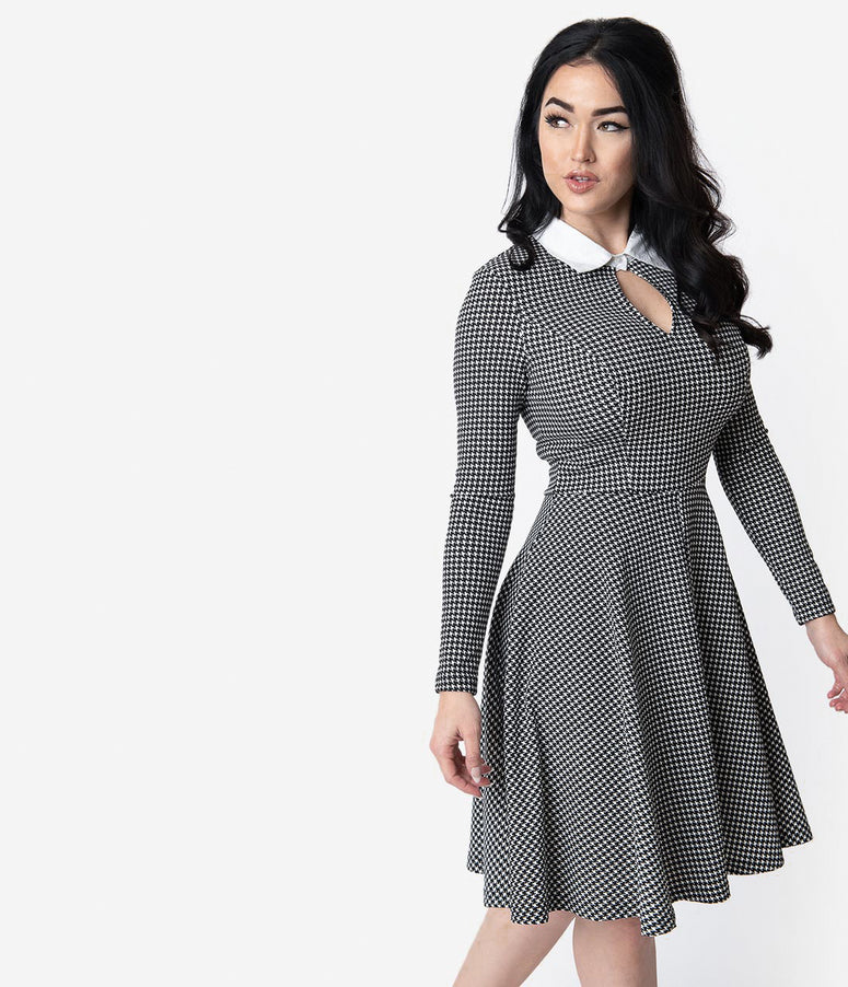 Unique Vintage Black & White Houndstooth Wednesday Flare Dress