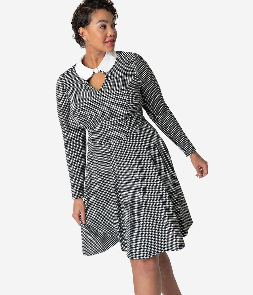 Unique Vintage Plus Size Black & White Houndstooth Wednesday Flare Dress