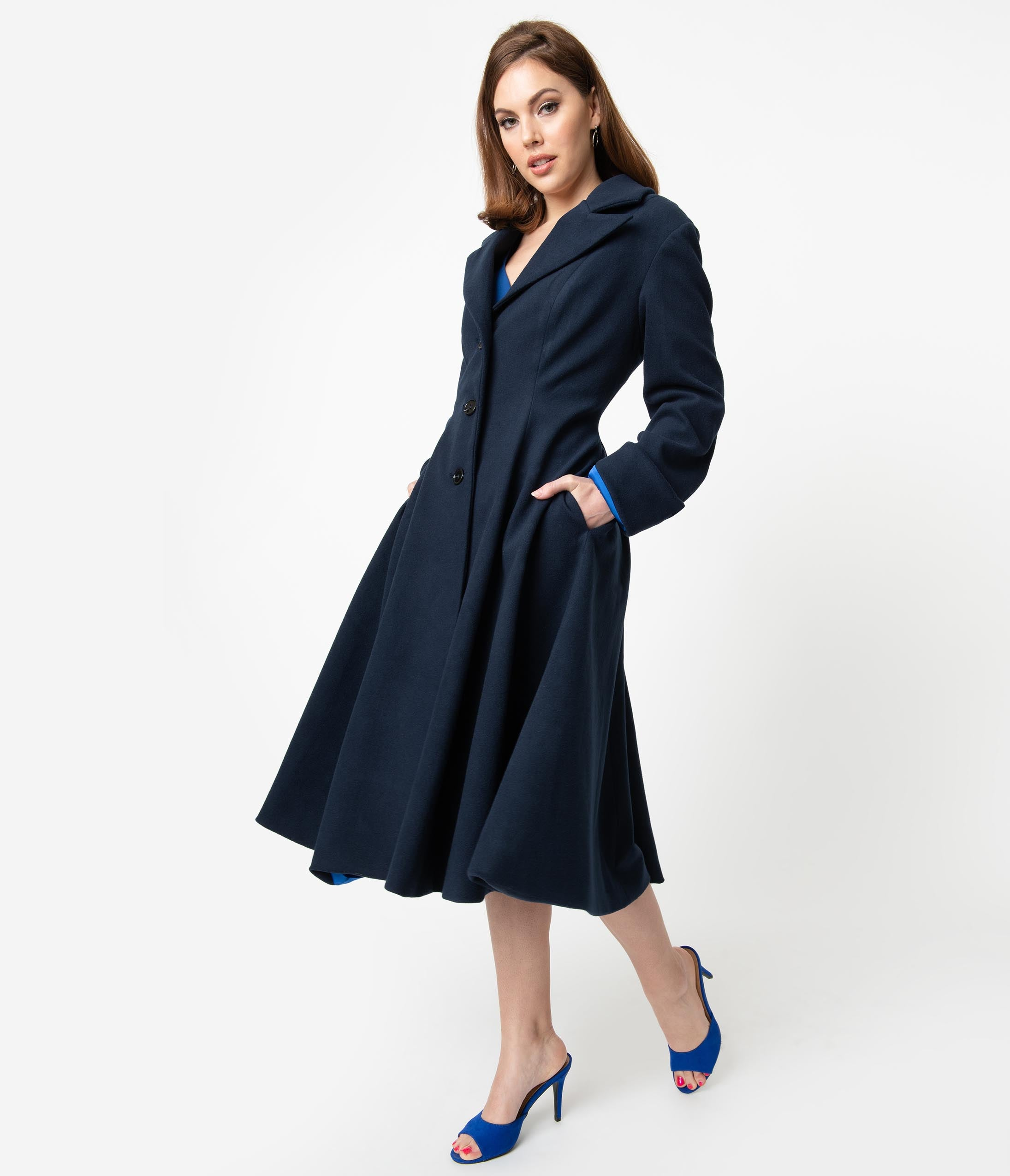 Vintage Coats & Jackets | Retro Coats and Jackets Micheline Pitt For Unique Vintage 1950S Style Navy Blue Neo-Noir Swing Coat $228.00 AT vintagedancer.com
