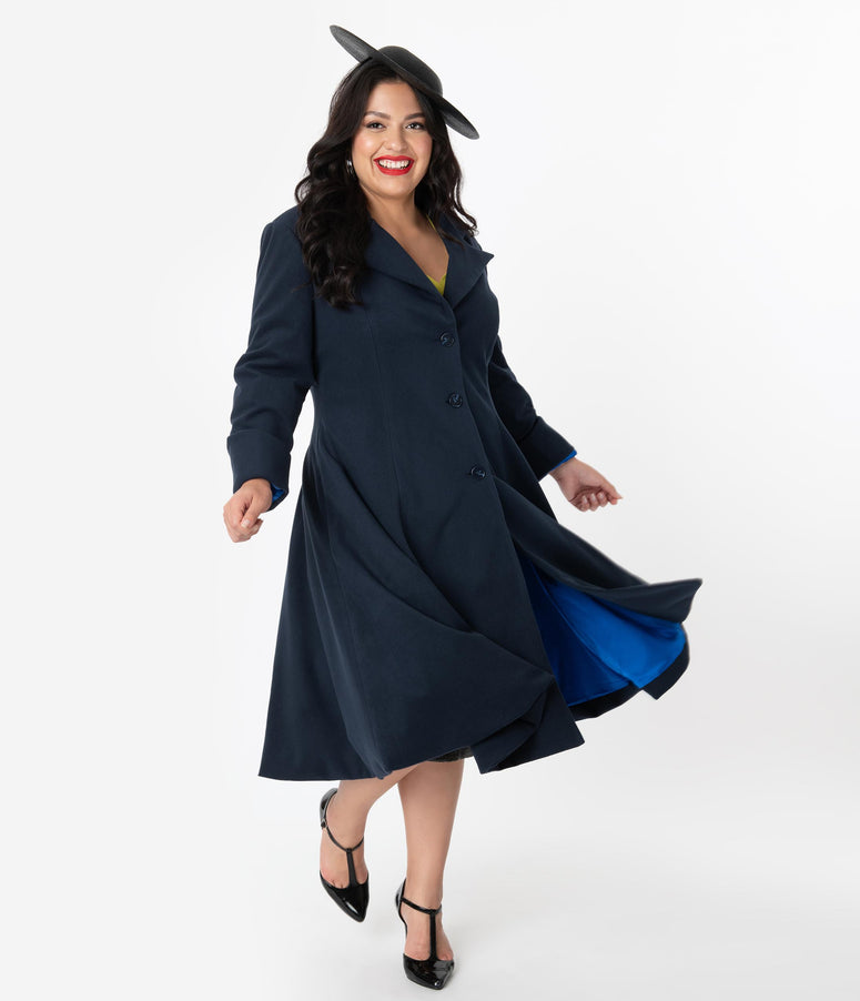 Micheline Pitt For Unique Vintage Plus Size 1950s Style Navy Blue Neo-Noir Swing Coat