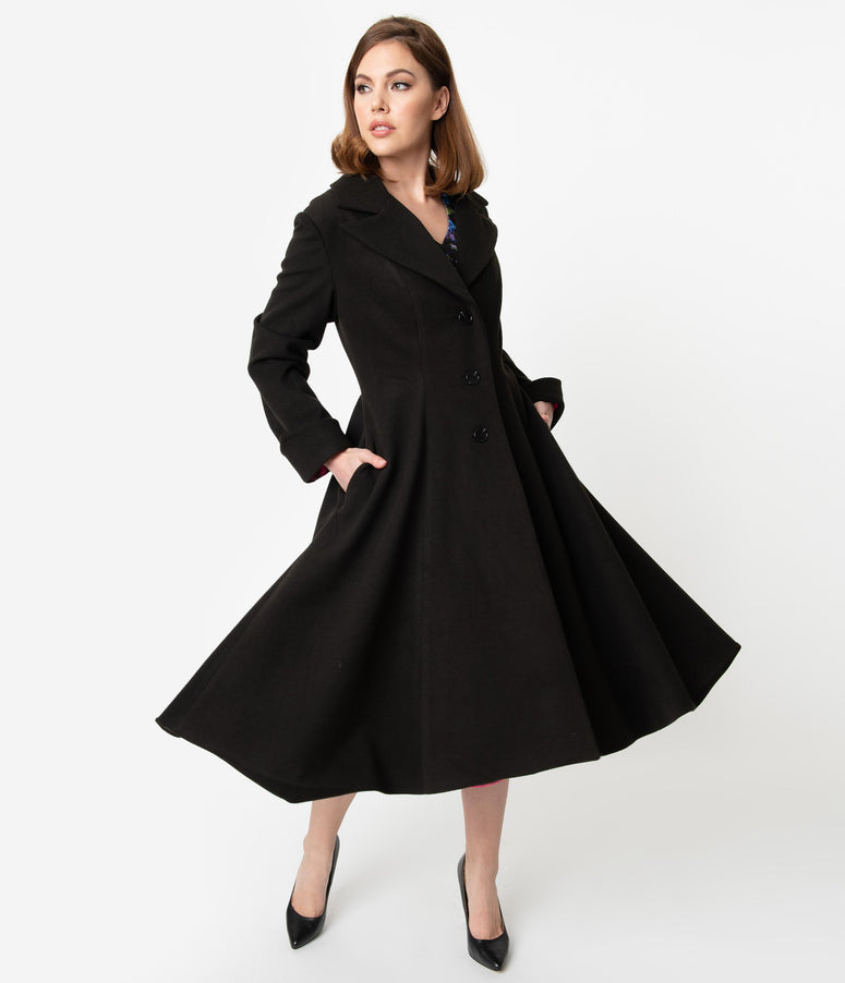 Micheline Pitt For Unique Vintage 1950s Style Black Neo-Noir Swing Coat