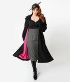 Micheline Pitt For Unique Vintage Plus Size 1950s Style Black Neo-Noir Swing Coat