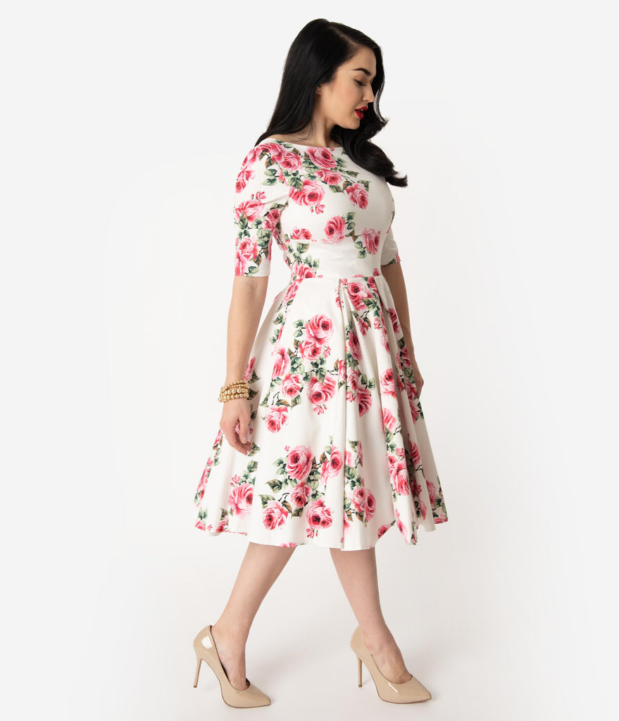 The Pretty Dress Company White & Pink Vintage Rose Print Sleeved Hepburn Swing Dress